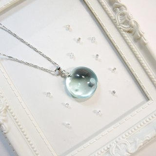 """Ice Crystal ice"" elegant sea-blue glass necklace - holy full moon -N5"