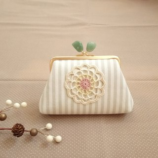 [LCG+/ Lace mouth gold bag] 12cm. Natural crystal stone. Emerald. Limited one!