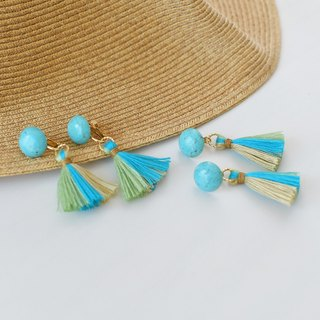Dome Tassel Earrings  /Turquoise