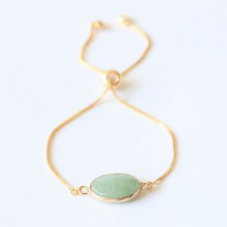 Green aventurine sliding bracelet - natural stone gold plated bracelet