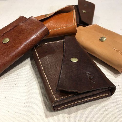 Handmade leather tanned banknotes change card business card clip gift customized