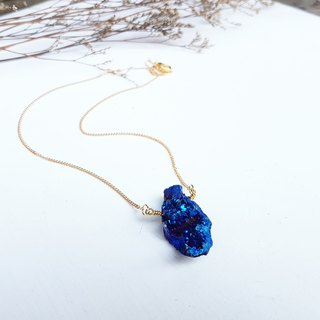 EXCLUSIVE [Galaxy of the Stars Series] Only One Mini Blue Purple Quartz Stone Clavicle Short (Neck) Necklace Chain