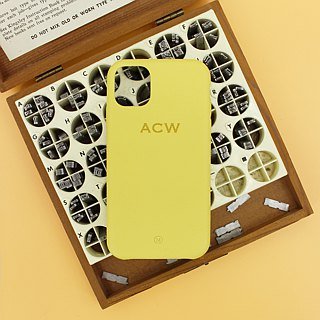 Customized Multicolor Leather Lambskin Series Macaron Dream Color Yellow iPhone Case