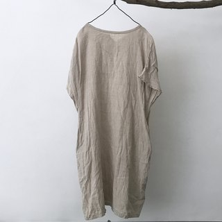 Camel cotton and linen drop shoulder short sleeve dress