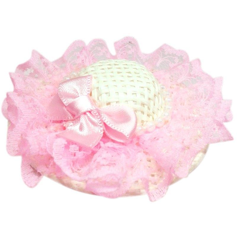 珍珠蕾絲蝴蝶結遮陽帽髮夾 全包布手工髮飾Sun Hat-Pinky