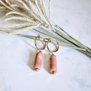 ITS-E140 [ear clip series・small cylinder] gentle girl powder orange beige two-color ear clip