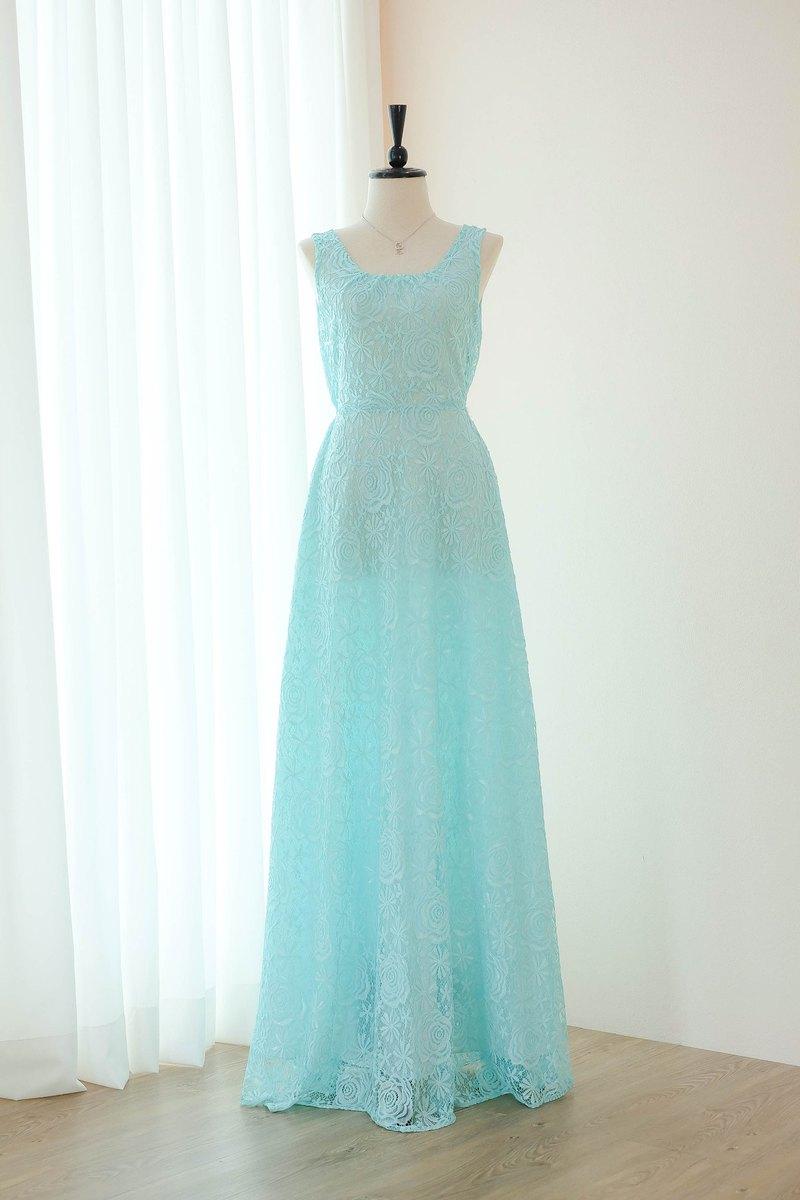 藍色連衣裙蕾絲伴娘長裙蝴蝶結舞會派對禮服