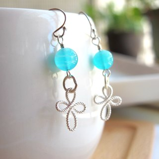 [Tiffany Blue] Tianhe Stone x 925 Silver - Earrings Series - Handmade Natural Stone Series
