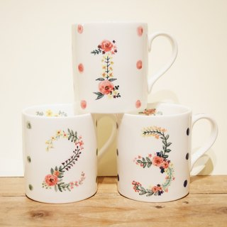 Small hand-painted mug - Lucky Numbers - exclusive custom digital