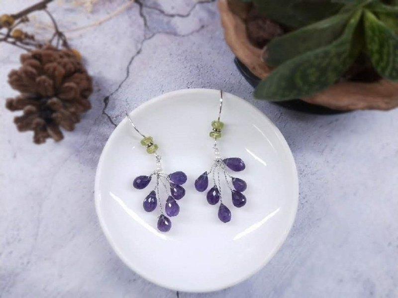 耳環。水滴切割面紫水晶花樹耳勾耳夾耳環
