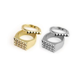 "[METALIZE] ""Punk Rivet"" Rivet Ring (Gold/Platinum)"