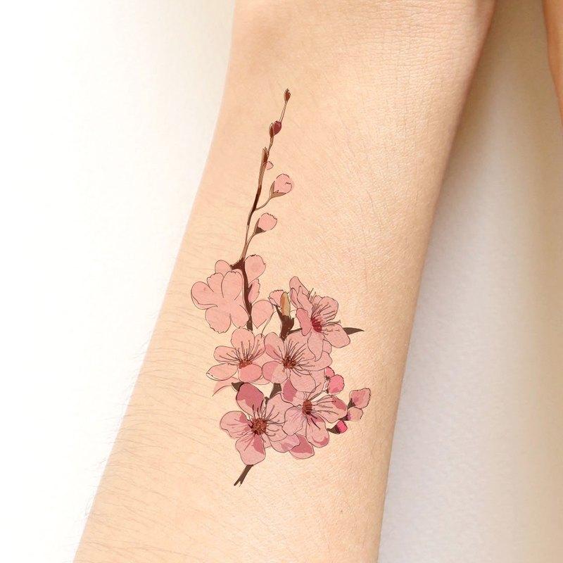 93268245c1f02 Sakura (Cherry blossom) sticker tattoo-Hand drawing style ...