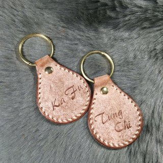 Italian leather key chain handmade leather wipe wax brown engraved names have one pair of free off ~