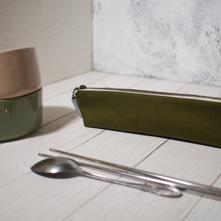 Daily series of cutlery bags / chopsticks set / limited edition hand bag / grass green / stock supply