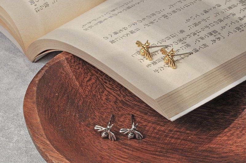 二毛銀【蜂系列黃銅鍍18K金小蜜蜂小耳環】