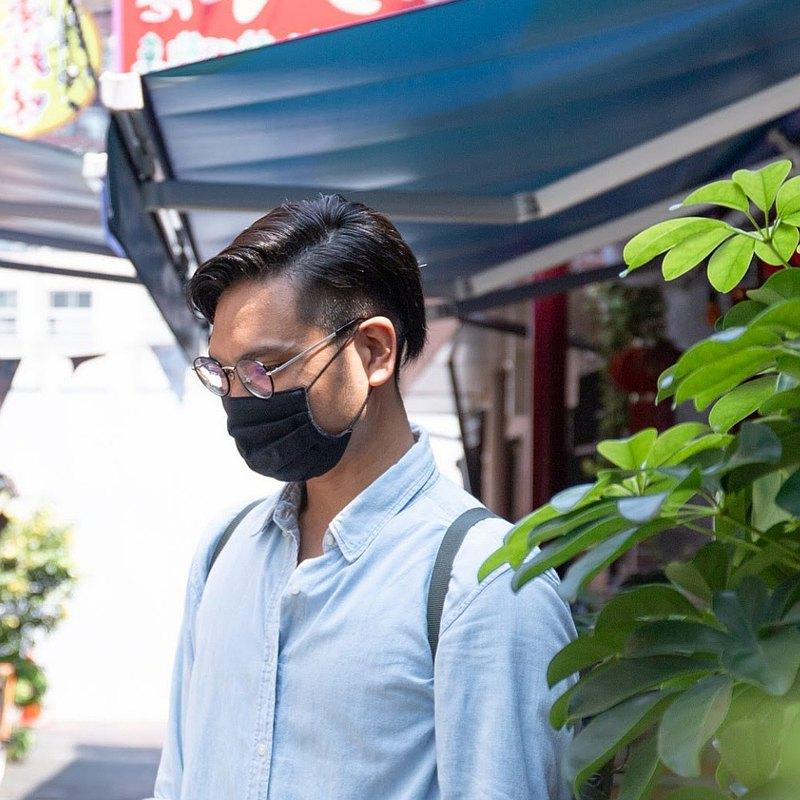 男性用 手工立體口罩 可洗滌 日本製純棉二重紗布 黑色 成人