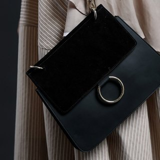 Fog metal ring double leather stitching shoulder leather hand dual-use bag