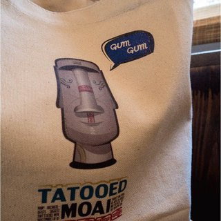 Original illustration Figure Bag - Bag canvas bag to go with [series] TATOOED MOAI _ tattoos Moai statues on Easter Island Canvas Tote bag (size M)