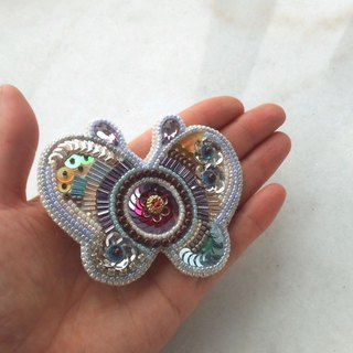 "【beads embroidery】butterfly brooch  ""Spring"""