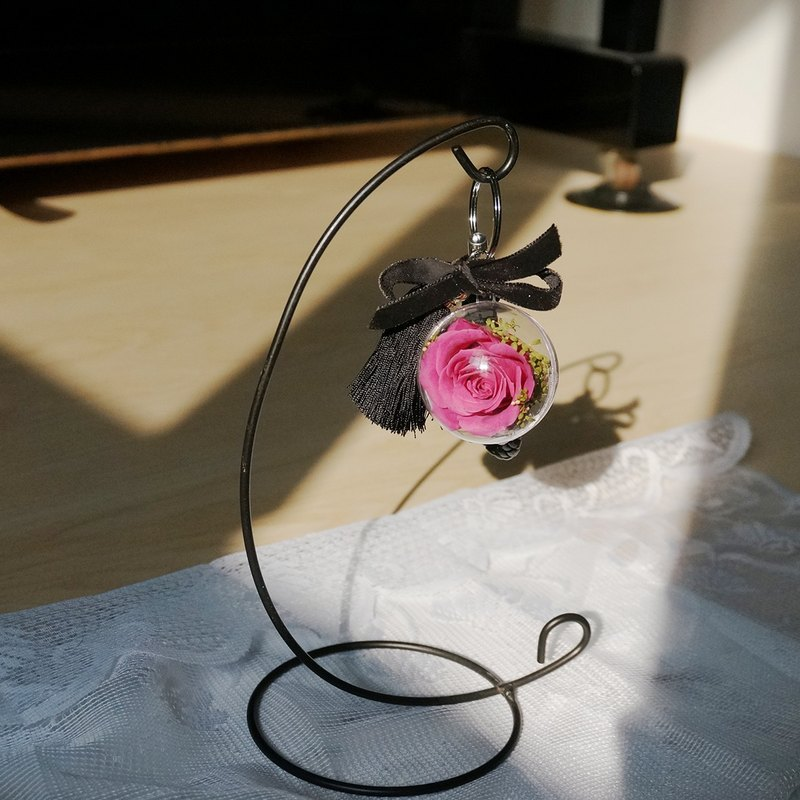 永生花透明球球鑰匙圈(小)-桃紫色玫瑰