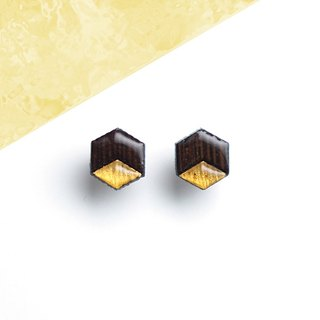 Hex - wooden earrings, wenge black and gold / Titanium stud earrings or plastic clip earrings