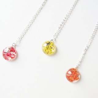 * Rosy Garden * Dried flower petals round resin necklace [Warm color]