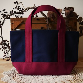 Classic tote bag Ssize navy x wine - navy blue wine red -