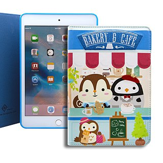 IPad mini 4 Book Cover Embroidered Leather Case SigemaXSquly & Friends Cafe BRIPAM4-BC / CL-01