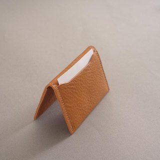 """RENÉE"" Folding Business Business Card Holder Tanning Carving Leather / Vegetable Tanning / Vegetable Tortoise Yellow"