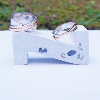 THE ROAD series - Come across Xx meet with you - handmade silver couple rings