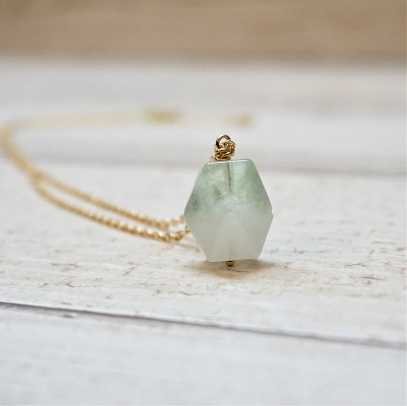 << Green Fluorite Necklace-Faceted Design >> Green Fluorite Stabilizing Emotional Energy Stone