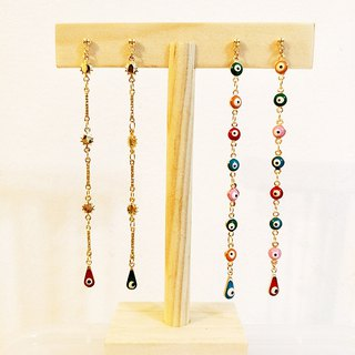 The Evil Eye Long Earrings, Asymmetrical Earrings