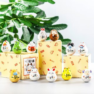 Japanese Pharmacist Kiln Zodiac Mini Lucky Cat Animals Tumbler Ceramic Decoration Birthday Gift Ornament