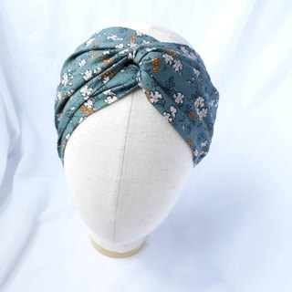 Gray-green small flower headband scarf wide hair band