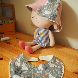 Handmade reversible pink rabbit hat and bib gift set