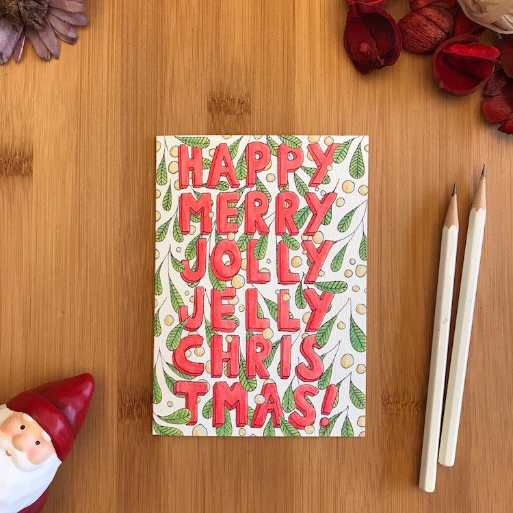 JOLLY JELLY MISTLETOE Christmas card hand-painted illustration of environmentally friendly paper imported cards C108