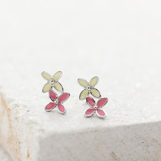 Flower Earrings in 925 Sterling Silver, White Gold plating - Pink & Yellow