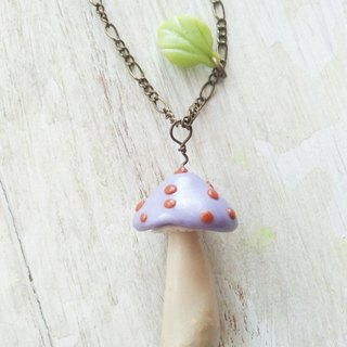 Light Bluish Purple, Mushroom Necklace, Forest Jewelry, Gift for her, Christmas Gift, Fairy Tales