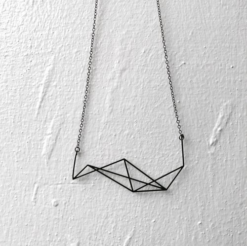 ∎ Geomatic Mountain Illusion box Necklace ∎