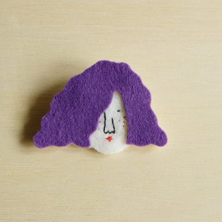 Miss Hairy Collection / Wool Felt Fabric Brooch / S Size