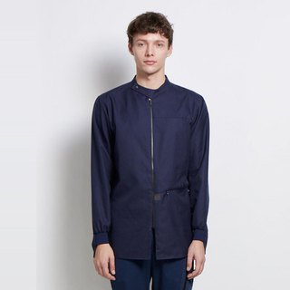 Up and down - stand-up collar pocket zip shirt - navy