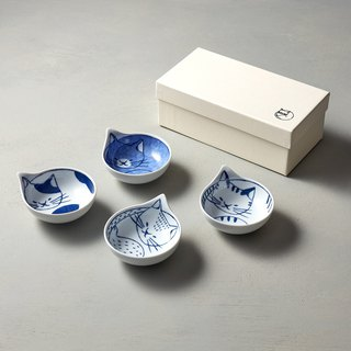 Shizuho Pazo-yaki-neco cats - small soup plate gift set (4 pieces)