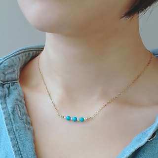 Turquoise and Freshwater Pearls Beaded Bar 14K Gold Filled Necklace