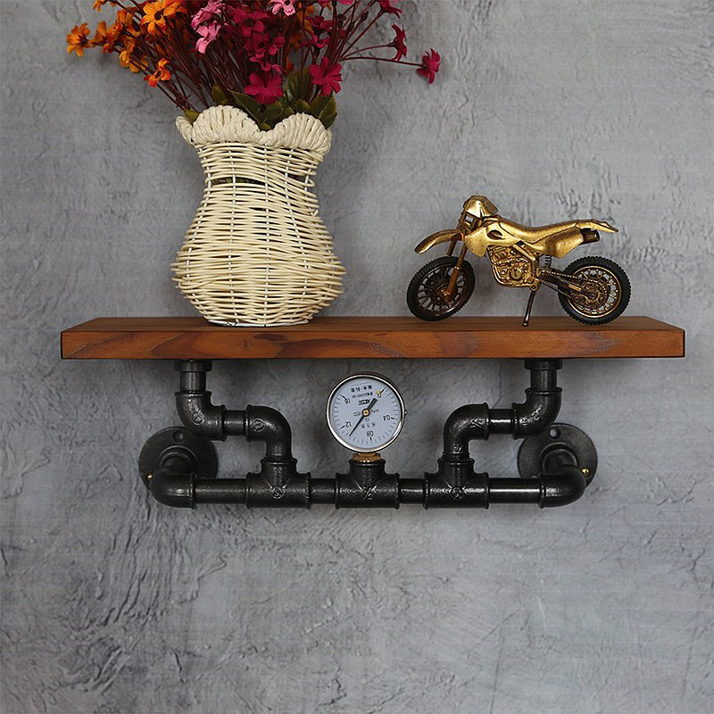 工業風水管置物架 牆上裝飾書架收納架