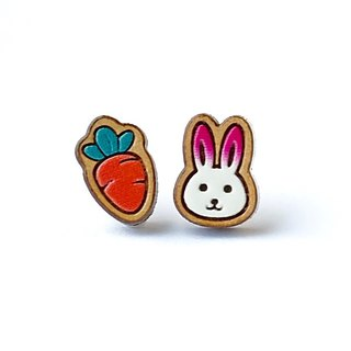 Painted wood earrings-Rabbit & Carrot