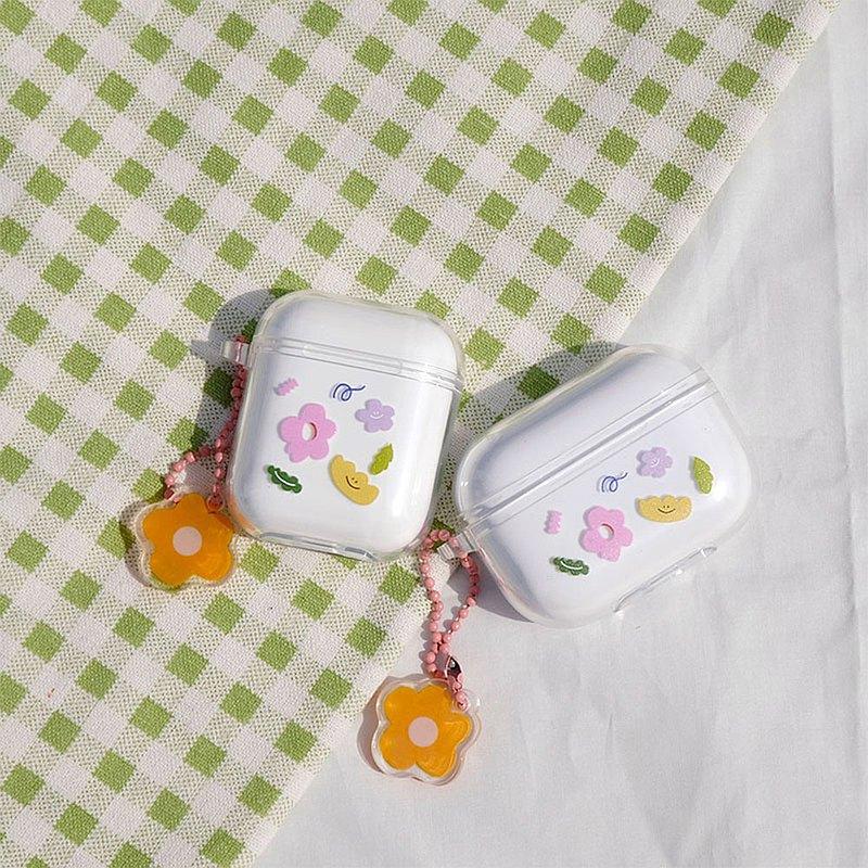AirPods Pro 1/2代透明小花保護套 蘋果無線小清新少女代藍牙耳機