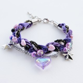 Heart chain braided bracelet in galaxy purple