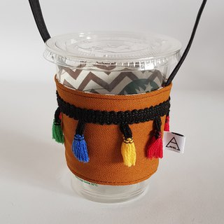 Vintage style colorful tassel drink cup bag / brown