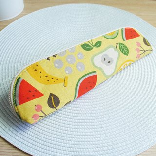 Lovely [Japanese cloth] fruit plate cutlery bag, pencil case, yellow bottom, 23-24 cm chopsticks available