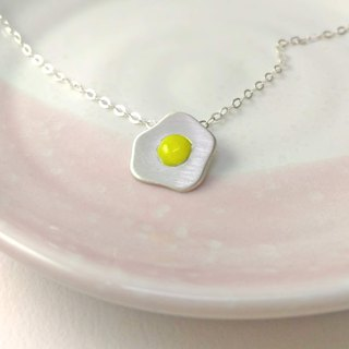 / Sunny side up egg / Silver necklace-handmade gift